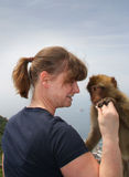 Women and baby ape in Gibraltar Royalty Free Stock Photos