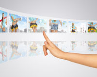 Women in background building construction. Finger Royalty Free Stock Images
