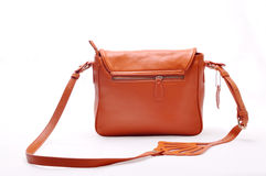Women bag. Orange women satchel on a white background Stock Photo