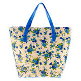 Women bag with blue flowers Royalty Free Stock Photos