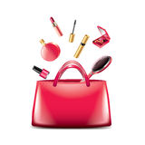 Women bag with cosmetics  on white vector Stock Images