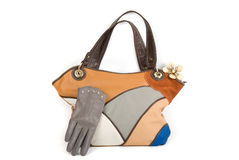 Women bag with gloves Royalty Free Stock Image