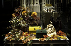 Women bags and gloves in autumn colours orabge yellow Royalty Free Stock Images