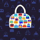 Women bags and  handbags. Fashion Pattern on dark blue backgrou Stock Images