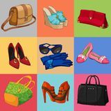 Women bags shoes and accessories collection Royalty Free Stock Photo