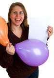 Women with balloons and sheet of paper Stock Photos