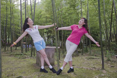 Women in Bamboo Forest Stock Photography