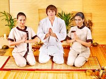 Women at bamboo spa . Stock Photo