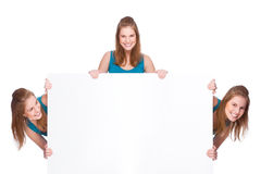 Women with banner Royalty Free Stock Photo
