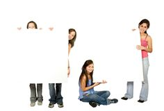 Women with banner ad Stock Photos