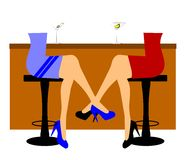 Women at bar with martinis. Two women at bar during happy hour having martinis Stock Photos