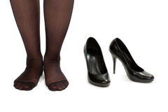 Women bare legs and shoes Royalty Free Stock Photography