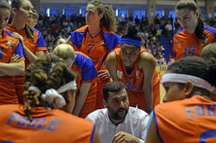 Women Basketball Team and Coach Royalty Free Stock Image