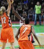 Women basketball. UGMK vs USA Royalty Free Stock Image