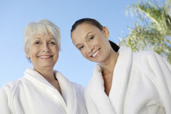 Women In Bathrobes At Spa stock photography