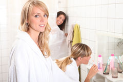 Women in a bathroom Royalty Free Stock Photography