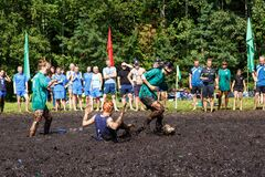 Women battle for the ball in the Open Belarusian championship on marsh football