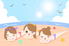 Women on the beach. Beauty cartoon women with sunscreen on the beach Royalty Free Stock Photography