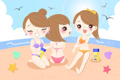 Women on the beach. Beauty cartoon women with sunscreen on the beach Stock Photography