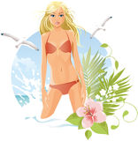 Women on the beach (blonde) Royalty Free Stock Image