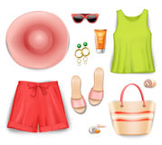 Women Beach Clothing Accessories Set Royalty Free Stock Images