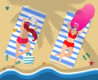 Young Girls in Swimwear Relaxing Lying on Beach. Women on Beach. Couple of Young Girls in Red Sexy Swimwear Relaxing Lying on Back and Belly on Towels at Seaside stock illustration