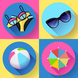 Women Beach icon set. Swimsuit, ball, sunglasses, umbrella. Flat design style. Royalty Free Stock Image
