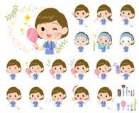 women_beauty外科手术蓝色的穿戴 向量例证