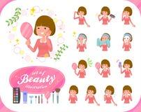 women_beauty扁平式平直的轰隆的头发 免版税库存图片