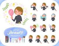 women_beauty扁平式的短发 免版税库存图片