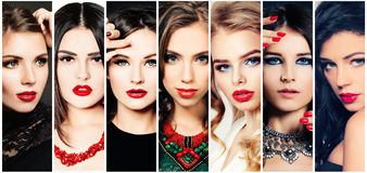 Women. Beauty Collage. Fashion Faces. Stock Image