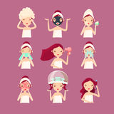 Women in Beauty Saloon. Vector Illustration Set royalty free illustration