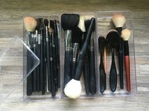 Brushes makeup tools stock photo