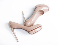 women beige  shoes Royalty Free Stock Photo