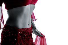 Women belly dancer. Woman belly dancer, silhouette studio isolated on white background Stock Photo