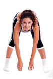 Women bending down and doing her excercise Stock Photography