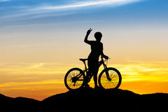 Women bike at hill mountain Royalty Free Stock Photography
