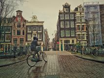 Women biking in Amsterdam Stock Image