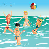 Women in a bikini play volleyball in the sea. Girls throw a ball standing in the water. Flat cartoon  illustration Stock Photography