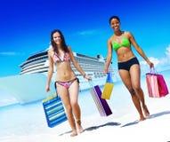 Women Bikini Shopping Bags Beach Summer Concept Stock Images