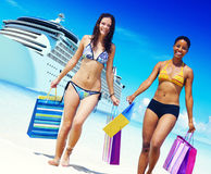 Women Bikini Shopping Bags Beach Summer Concept Stock Images