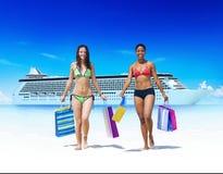 Women Bikini Shopping Bags Beach Summer Concept Stock Photos