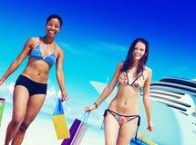 Women Bikini Shopping Bags Beach Summer Concept Stock Image