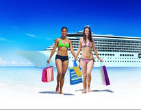 Women Bikini Shopping Bags Beach Summer Concept.  Stock Photography