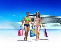 Women Bikini Shopping Bags Beach Summer Concept Stock Photography