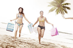 Women Bikini Shopping Bags Beach Summer Concept Royalty Free Stock Images