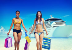 Women Bikini Shopping Bags Beach Summer Concept.  Royalty Free Stock Images