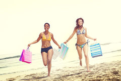Women Bikini Shopping Bags Beach Summer Concept.  Royalty Free Stock Photo