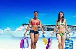 Women Bikini Shopping Bags Beach Summer Concept Royalty Free Stock Photos