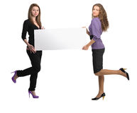 Women  with billboard Stock Photos
